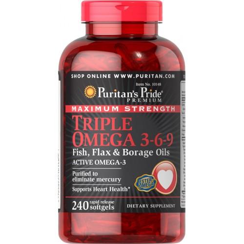 Maximum Strength Triple Omega 3-6-9 Fish, Flax & Borage Oils